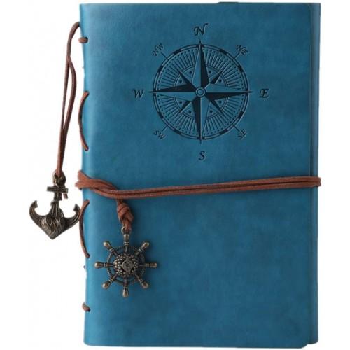 Diario di viaggio in pelle, motivo bussola colore blu - MaleDen