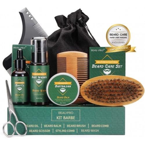 Kit Barba con oli, shampo, balsamo, pettine e forbice