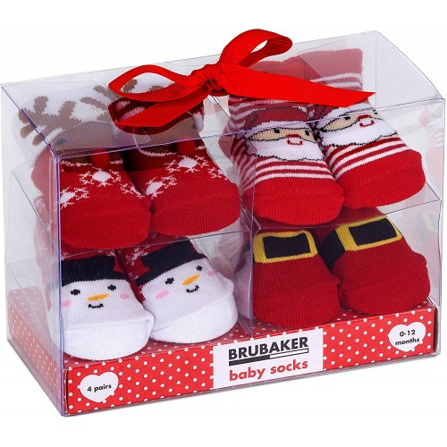 Set 4 paia di calze neonato da 0-12 mesi, tema Natale