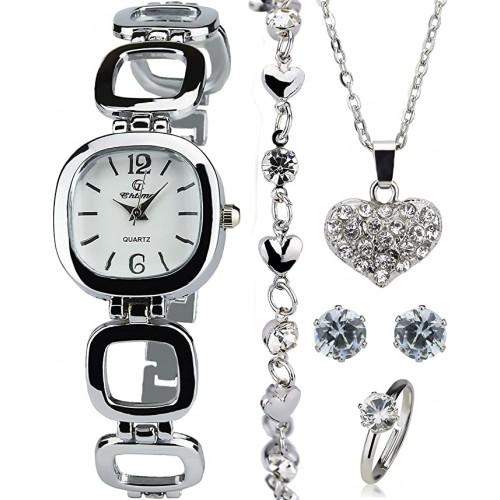 Cofanetto con Orologio Donna, parure di gioielli, collana, orecchini, cinturino