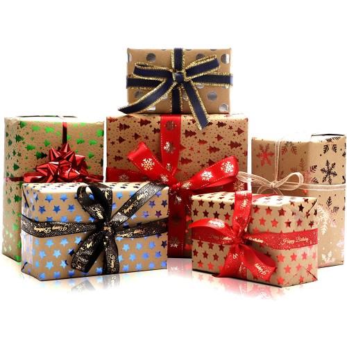 Rotolo di carta da regalo di Natale, confezione da 6 fogli, assortiti