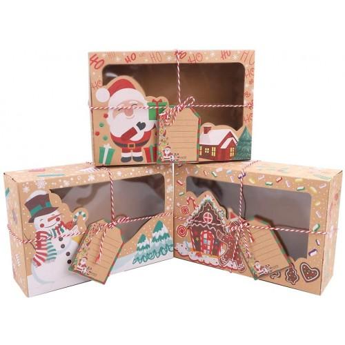 Set da 12 scatole regalo natalizie per biscotti, in carta Kraft
