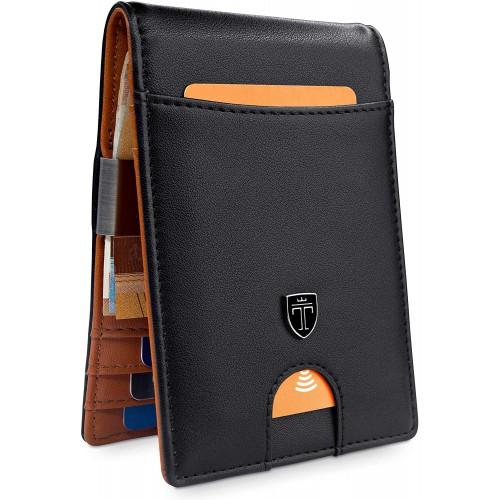 Portafoglio uomo con 7 tasche interne, in pelle e protezione RFID