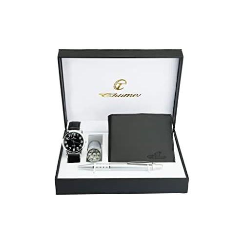 Set Orologio Uomo, portafoglio e penna, con scatola regalo