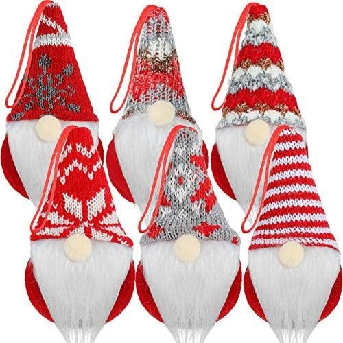Set 6 Pendenti Gnomi in feltro, decorazioni per albero e Natale