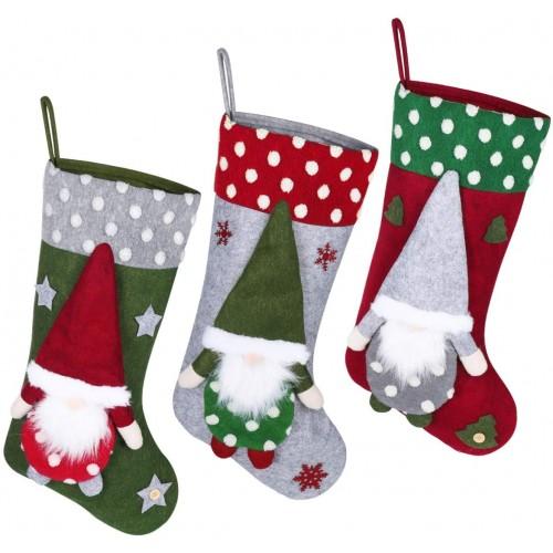 Set 3 Calze di Natale in feltro da 50 cm, grafiche assortite
