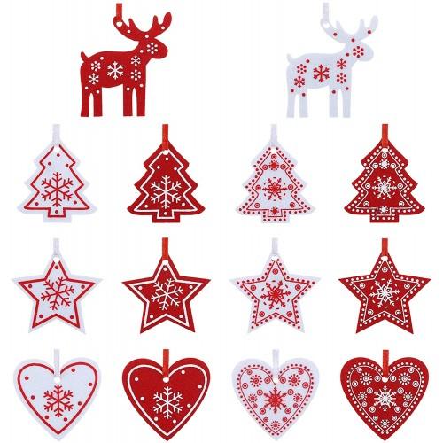 Set 42 decorazioni in feltro per albero di Natale, temi assortiti, con laccetto