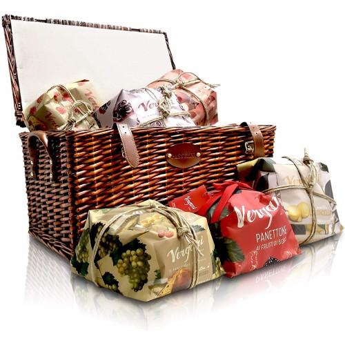 Cesto Natalizio con 6 panettoni Vergani alla frutta, idea regalo