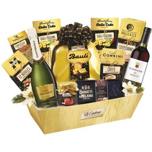Cesto Natalizio Oro Nero con panettone, dolci e vino