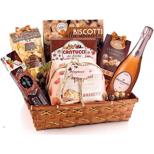 Cesto regalo Natalizio Elite, con 8 prodotti gastronomici