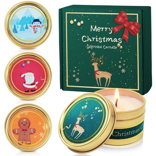 Set Candele profumate natalizie, cera, mela, cannella, cedro, pan di zenzero