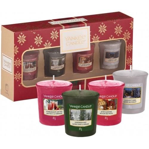 Set Regalo con 4 candele profumate, confezione Natalizia