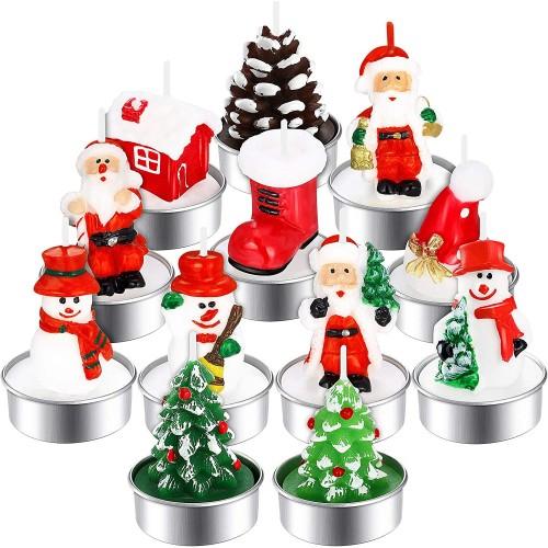 Set 12 Candele Babbo Natale fatte a mano, perfette per natale