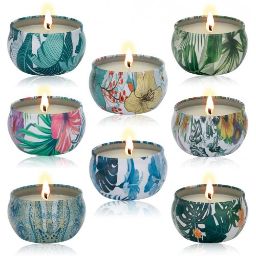 Set 8 candele profumate in cera di soia, Natalizie, antistress