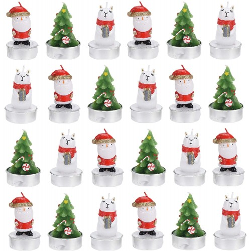 Set con 24 candele natalizie a forma di Babbo Natale e albero, piccoli pensieri