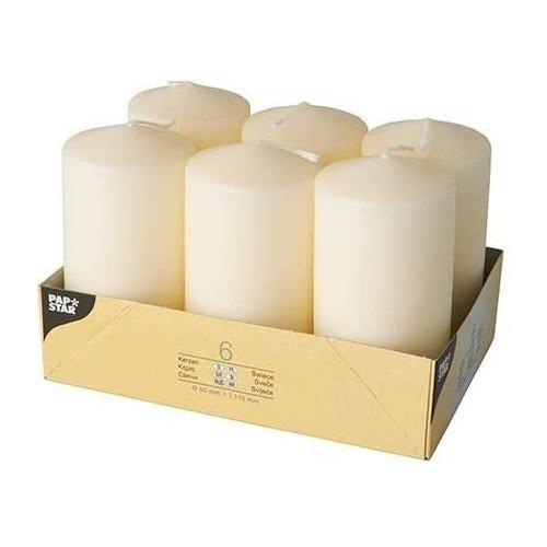Set di 6 candele da 6 x 15 cm, colore Avorio, durata 24 ore