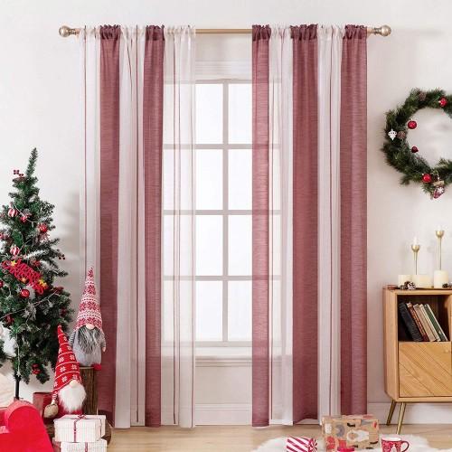 Tenda a righe rosso e bianco trasparente, perfette per arredo casa Natalizio
