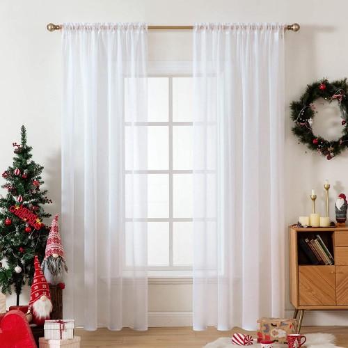 Tende bianche trasparenti per Natale, arredo casa, idea regalo