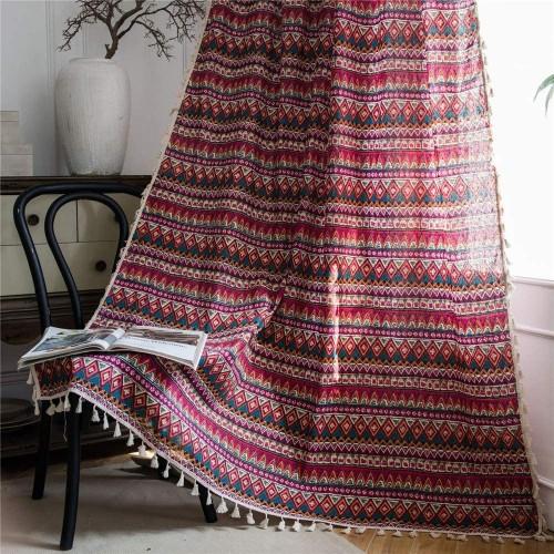 Tende in lino, decoro etnico, perfette per Natale, idea regalo