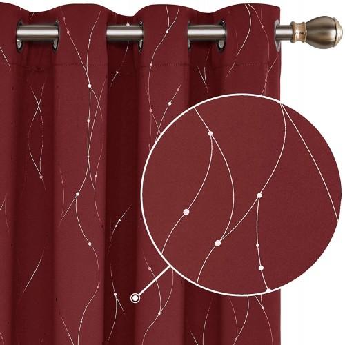 Set Tende oscuranti rosse con filamenti oro, tende Natalizie