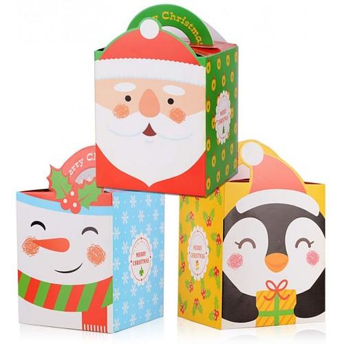 Set 24 scatole regalo natalizie, per biscotti e caramelle, grafiche assortite