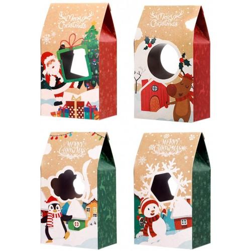 Set 16 scatole regalo di Natale, 4 grafiche speciali, in carta Kraft