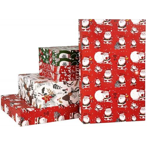 Set da 8 Confezioni Regalo di Natale, dimensioni varie, grafiche assortite