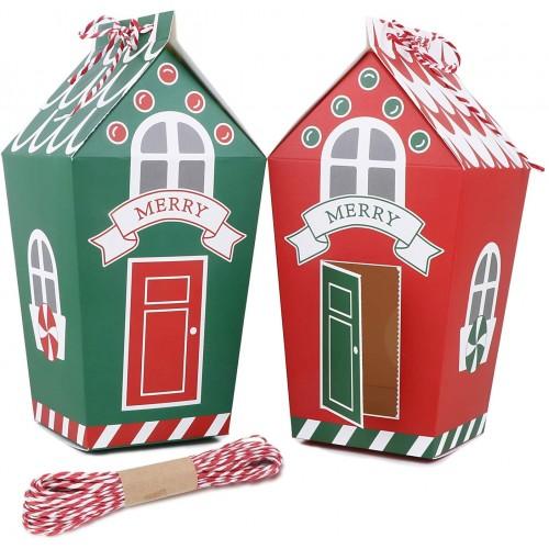 Bellissimo Set da 24 scatole Regalo Natale a forma di casetta, rosse e verdi