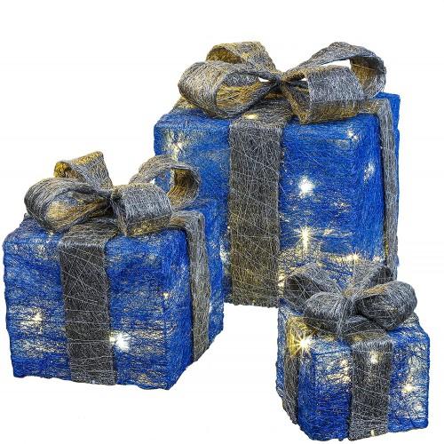 Set da scatole con 3 luci a LED decorative per regali di Natale