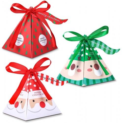 Set da 30 scatole per caramelle di Natale, forma piramidale, per regali