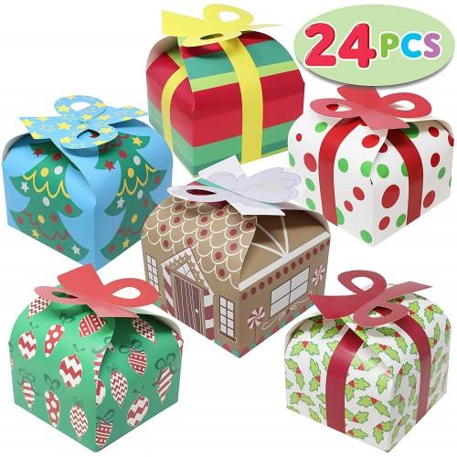 Set da 24 scatole 3D per regali di Natale con fiocco, in cartoncino resistente