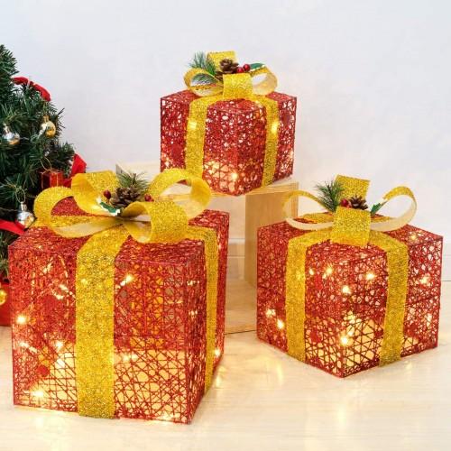 Set di 3 scatole regalo a LED con fiocco, con 8 modalità di illuminazione