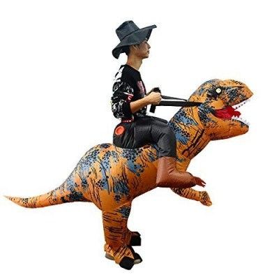 thematys Costume da Cavaliere Dinosauro Gonfiabile con Cappello - Divertente Costume ad Aria per Adulti 165cm-185cm - Perfett