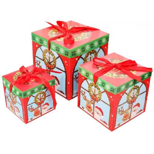 Set da 3 scatole regalo di Natale con fiocco, misure diverse