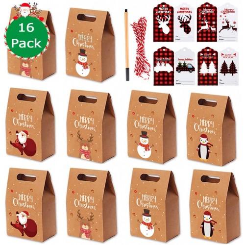 Set con 16 scatole e etichette Natalizie per regali, in carta Kraft