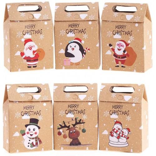 Set da 24 scatole regalo natalizie in carta kraft, 6 stili differenti
