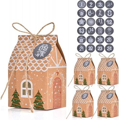 Set da 24 Scatole regalo per Calendario dell'avvento, con adesivi numerici