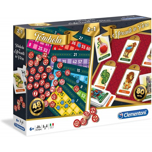 Set 2 in 1, Il Mercante in Fiera & La Tombola - Clementoni, giochi Natalizi