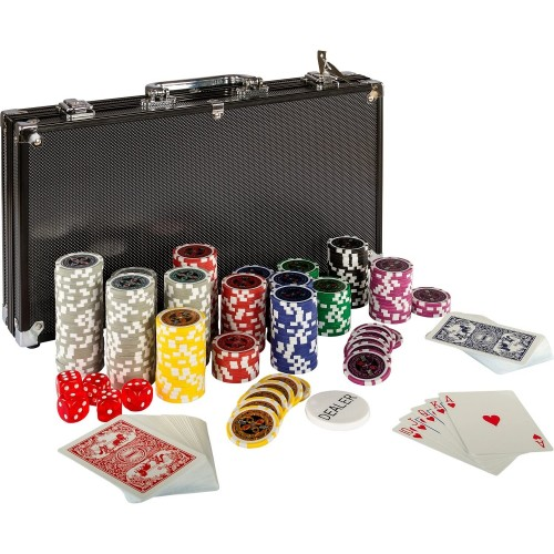 Set da Poker Ultimate Black Edition con 300 Chip e valigetta
