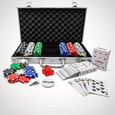 Set da Poker con 300 Pezzi, fiche Incluse, con valigetta professionale