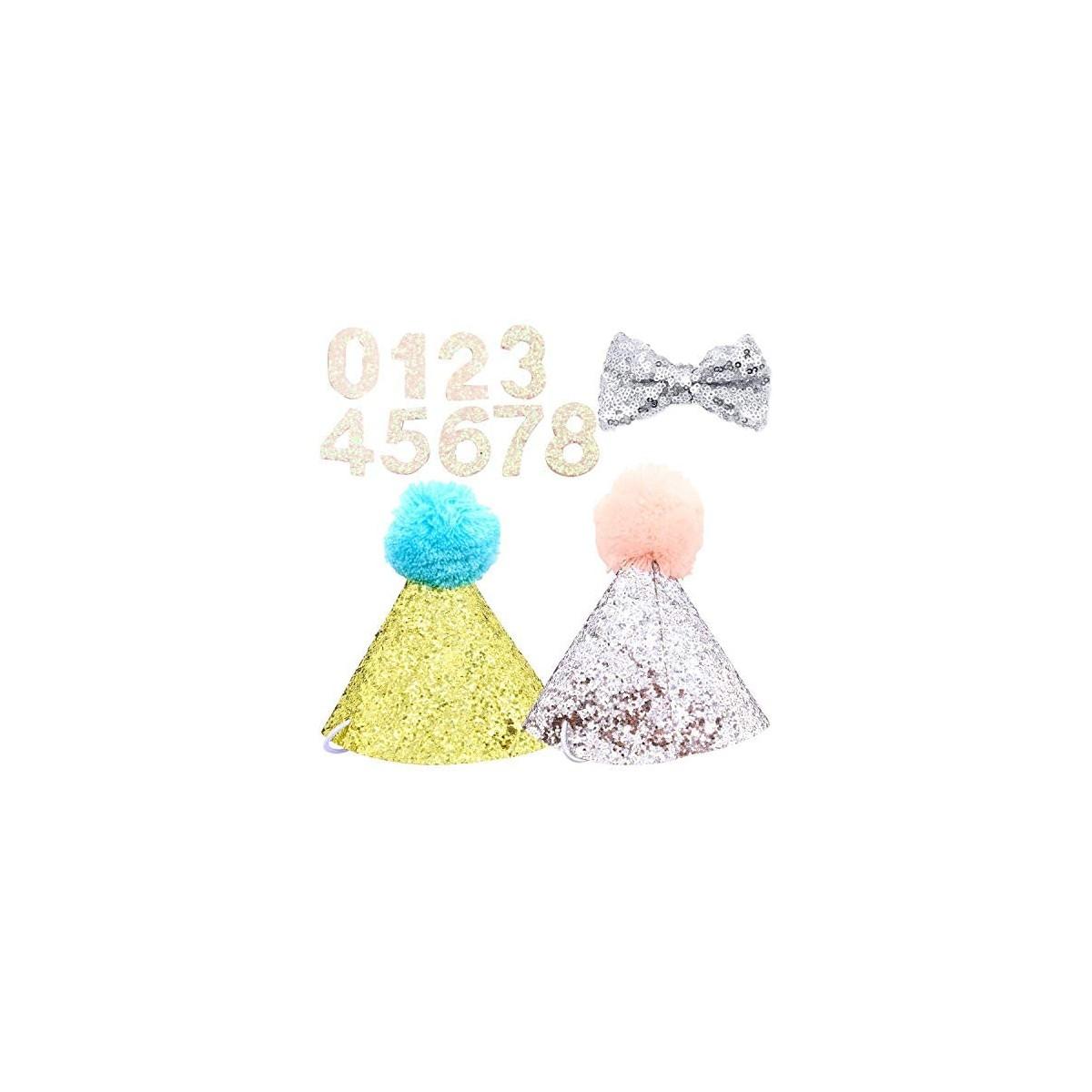 Set 2 cappelli compleanno per cani e papillon con accessori