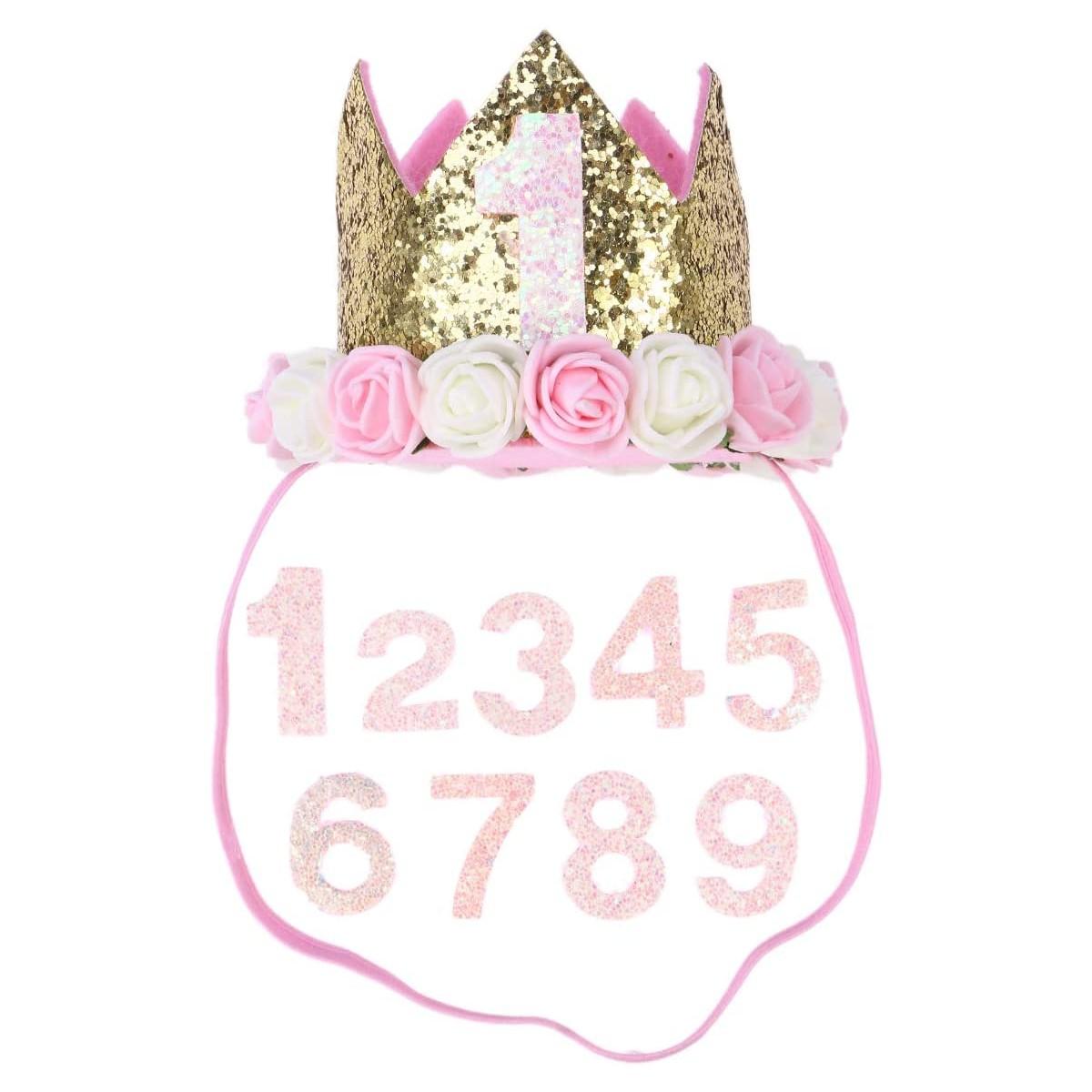 Corona di compleanno per cani e gatti, con fiori e numero