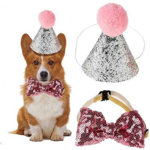 Set Cappello per compleanno cani e gatti, con laccetto, e papillon