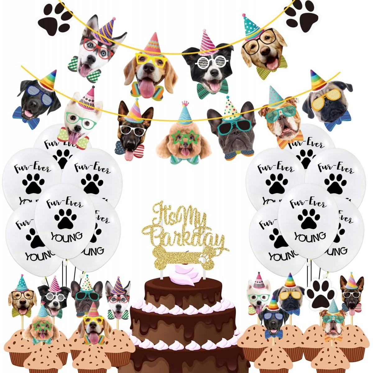 Set con 50 decorazioni, palloncini e banner per festa cane