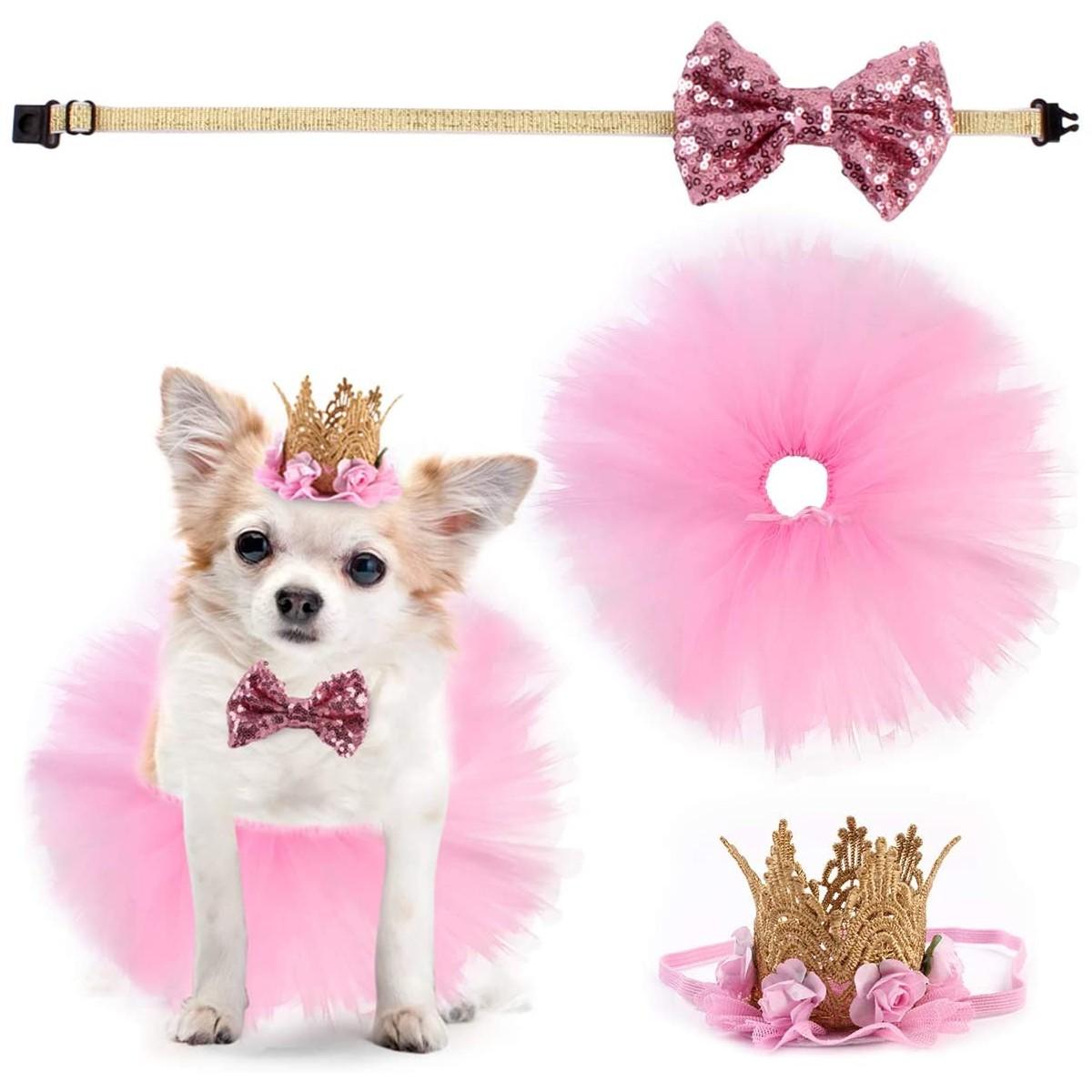 Abito da sposa per Cani, con gonna, papillon e piccola corona