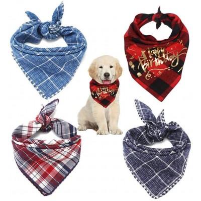 Set 4 bandane per cane o gatto, con scritte buon compleanno, a quadretti