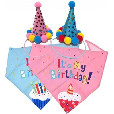 Set Cappello di compleanno per cani e gatti con bandana