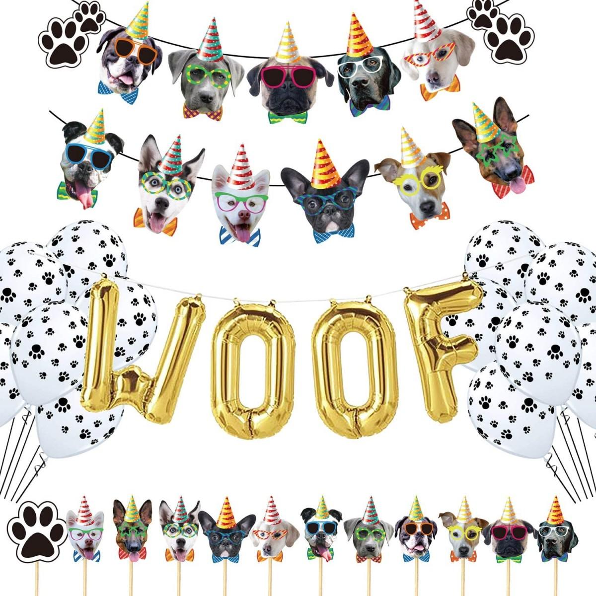 Set addobbi per festa cagnolino, con banner e palloncini