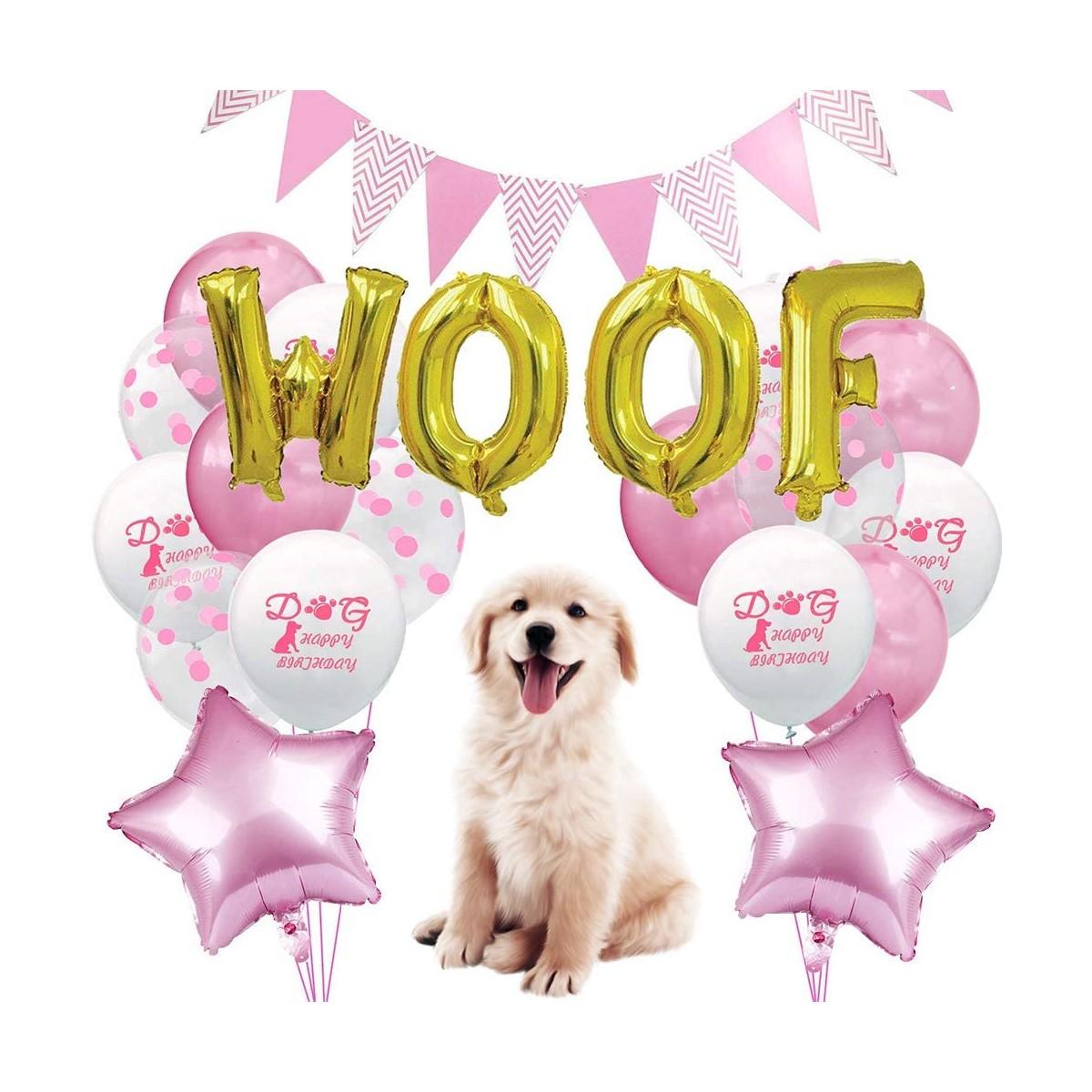 Set compleanno rosa per cagnoline, con palloncini e addobbi