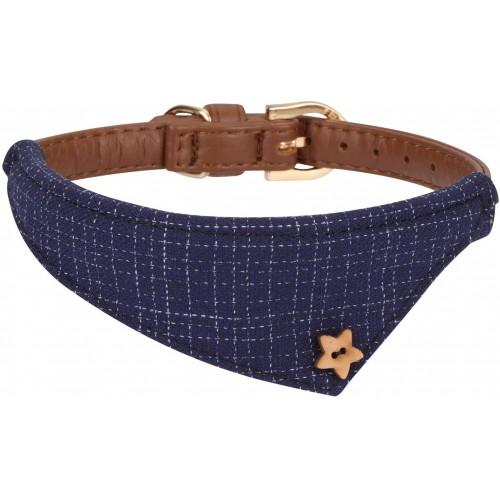 Collare in pelle per Cani con bandana, in tessuto, design plaid